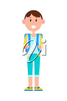 Funny schoolboy in denim capris and sneakers with big square backpack and broad smile isolated cartoon flat vector illustration on white background.