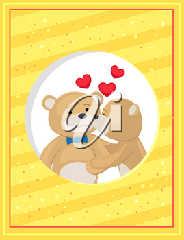Teddy bears couple, female kisses male in cheek, hearts above them, vector illustration of merry lovers animals isolated