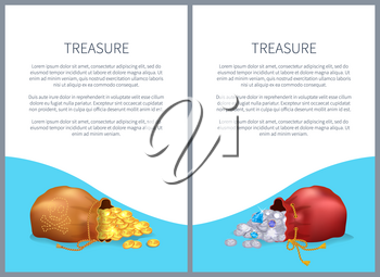 Treasure posters with bags, shiny diamonds and heap of gold coins. Ancient precious treasures in bunches. Expensive gems, metal money and text vector