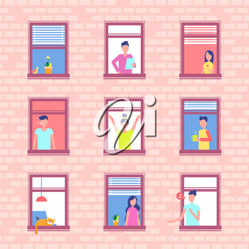People in window frames inside brick wall. Neighbors that live in apartment building do their morning routine near windowsill vector illustration.