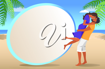 Frame for photo from vacation with tropical beach and couple in love that kisses among palm leaves and blue ocean vector illustration.
