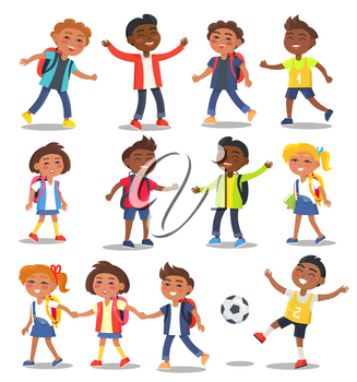 School children in stylish clothes with full rucksacks, educational books, glossy football isolated vector illustrations set on white background.