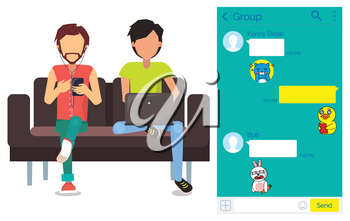 Men on couch using kakao talk Korean messenger vector. Chat interface with stickers, guys with smartphone and laptop, texting app, indoor furniture