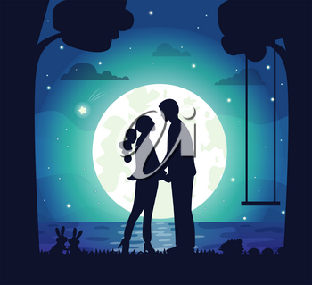 Moonlight and romantic atmosphere vector, man and woman on secret date, moon and stars, trees and lake, rabbits and forest animals with swings flat style. Night dating