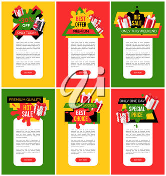Exclusive offer 55 percent off price web pages vector. Shops sellout with coupons and discounts, special offers and proposals on goods, business deal