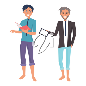 Two smiling successful businessmen in lilac and bright blue trousers with tackle, white and blue shirts with black tie vector illustration, two pads