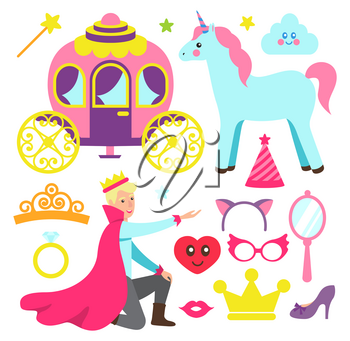 Accessories for princess party and fairytale prince. Funny unicorn, magic carriage, bright masks and gold crown isolated vector illustrations set.