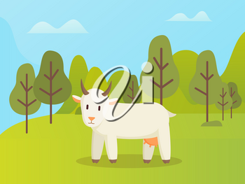 Goat side view, standing in park or forest, wildlife animal and mountain landscape with trees, cloudy sky. Horns white animal with udder, nature vector