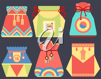 Chinese tradition vector, fortune bag for luck and prosperity flat style sac. Fabric cloth with ornaments and decoration, oriental wishing and celebration of Asian holidays. China and Korea customs