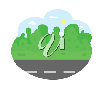 Empty road of city, bushes and trees vector. Greenery of nature, landscape with clear sky with shining sun, summer adventures trip on path highway
