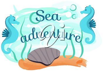 Marine life elements, underwater world with ocean fauna. Shell, seahorse and seaweed near sign with inscription. Sea creatures, items for nautical design, marine icons. Summer adventure concept