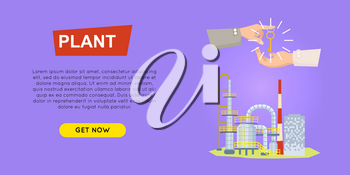 Buying plant online property selling web banner vector illustration. Advertising real estate e-commerce concept. Producing and recycling goods. Business agreements of opening own business.