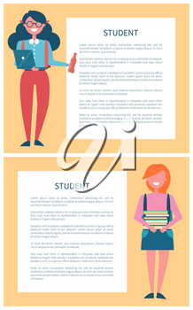 Studentsin uniform poster set place for text in frame, female pupils holding piles of books and girl with laptop and bottle of refreshing drink vector