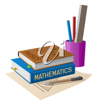 Physics and mathematics textbooks with stationery in plastic stand and geometrical figure draft isolated vector illustration on white background.