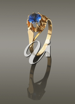 gold ring with blue stone alexandrite. with clipping paths
