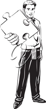 Vector sketch of a confident businessman holding a piece of a puzzle in his hand extended to the viewer conceptual of business challenge, innovation and problem solving
