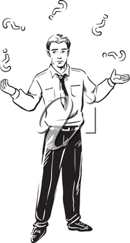 Businessman standing juggling question marks as he tries to solve a business problem or answer questions, black and white hand-drawn vector illustration
