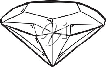 Faceted gemstone or diamond, black and white line drawing showing the structure