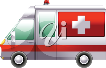 Illustration of an ambulance on a white background