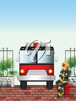 Illustration of a fireman sitting above a hydrant