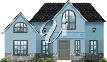 Illustration of a big blue house on a white background