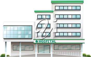 Illustration of a hospital building on a white background