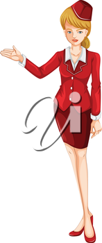 Illustration of an air hostess on a white background