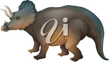 Illustration showing a triceratops