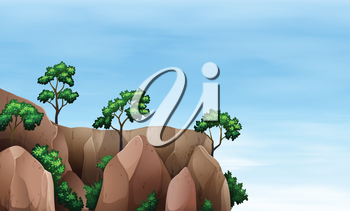 Illustration of a cliff with trees