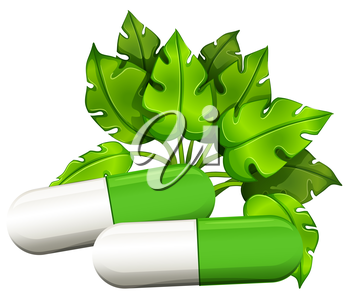 Illustration of the medical capsules on a white background