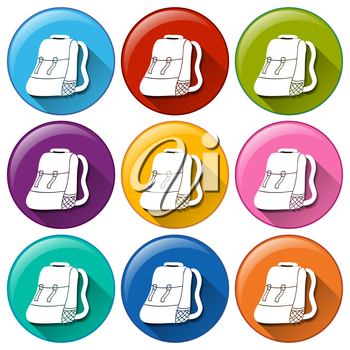 Colourful buttons with camping bags on a white background