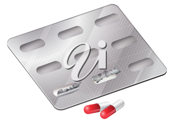 Illustration of the capsules outside the packaging on a white background