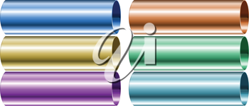Illustration of the neon colored pipes on a white background