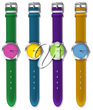 Illustration of the designer watches on a white background