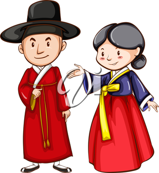 A sketch of a male and female wearing an Asian costume on a white background