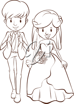 A plain drawing of a wedding on a white background