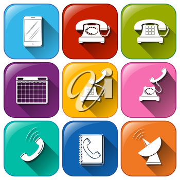 Illustration of the different icons for communication on a white background