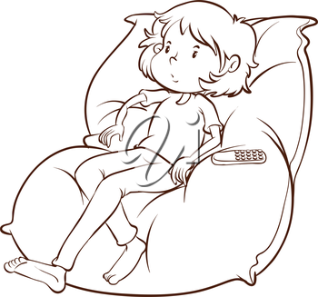 A plain sketch of a couch with a lazy young girl on a white background