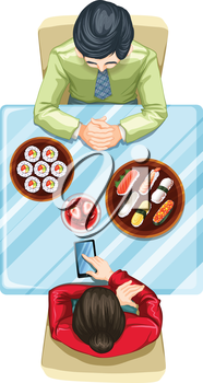 Illustration of a topview of two people eating sushi on a white background
