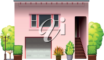 A modern pink house on a white background