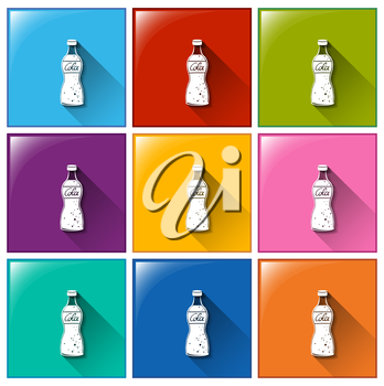 Buttons with bottles of cola on a white background