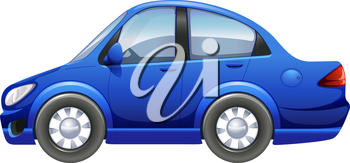 Illustration of a blue vehicle on a white background