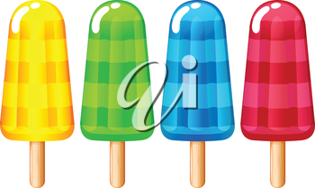 Illustration of the icecream on stick on a white background