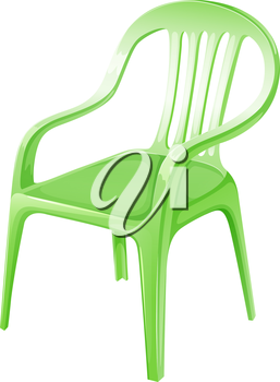 Illustration of a green plastic chair on a white background
