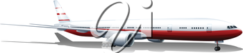 Illustration of a plane landing on a white background