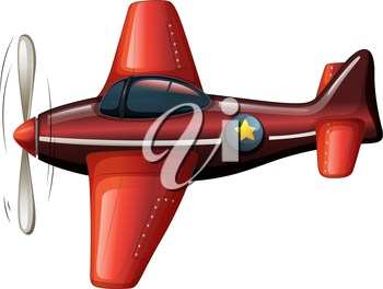 Illustration of a red vintage plane on a white background