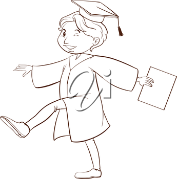 A plain drawing of a person graduating on a white background