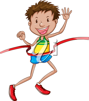 Illustration of a simple sketch of a happy winner on a white background