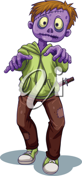 Illustration of a scary zombie with a knife on a white background