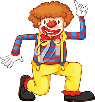 Illustration of a coloured drawing of a clown on a white background